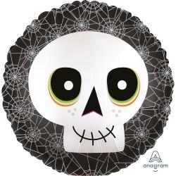 Globo Calavera con arañas  foil