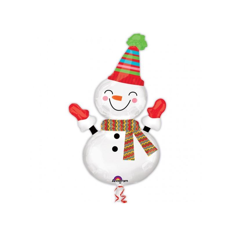 Globo Muñeco nieve foil guantes
