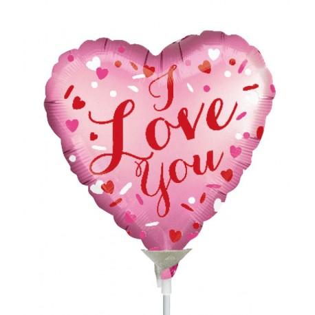 """Globo Love you rosa 9""""-23cm"""