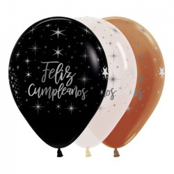 "Globos Feliz Cumple TRICOLOR 12""-30cm Sempertex"