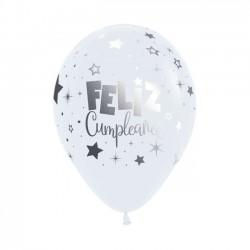"Globos Feliz Cumple blancos 12""-30cm Sempertex"