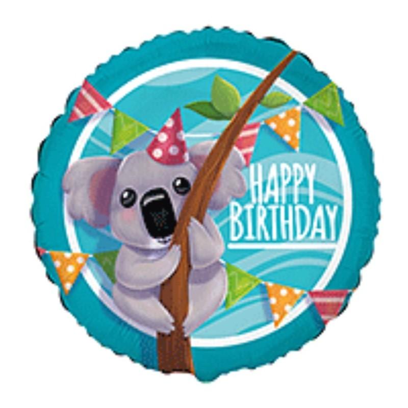 Globo Koala Happy Birthday foil