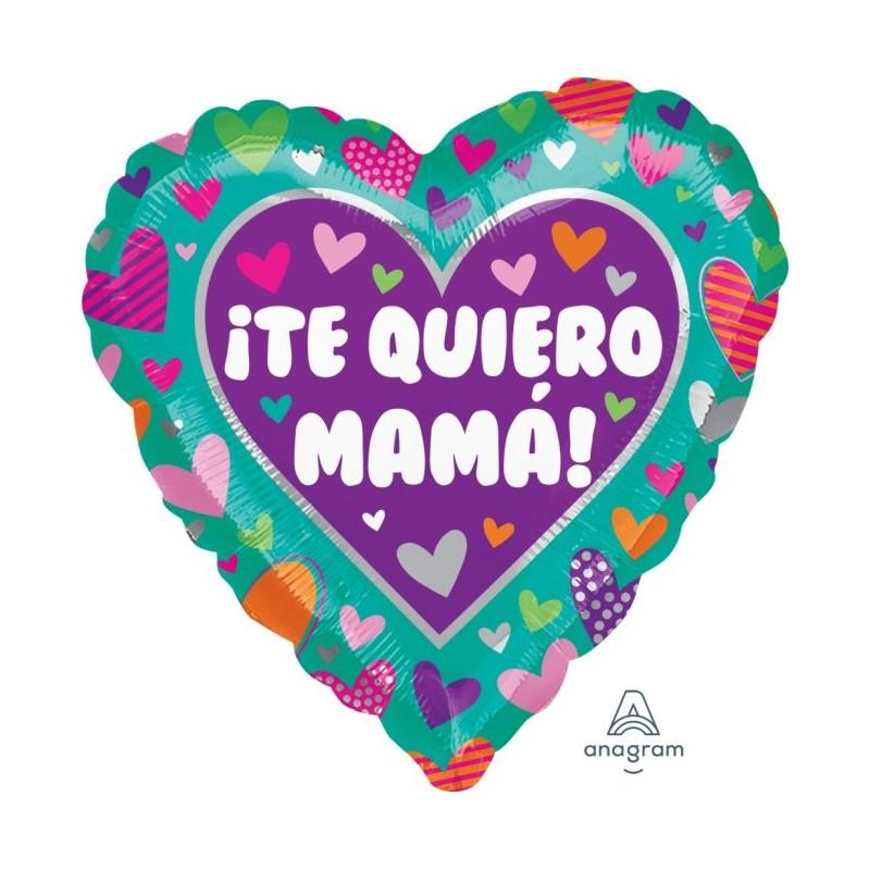 """Globo Te quiero Mamá corazones 18""""-45cm"""