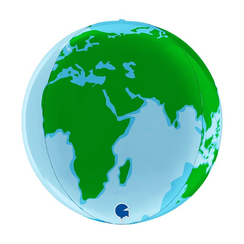 Globo Planeta Tierra esférico foil