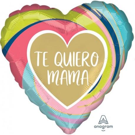 "Globo Te quiero Mamá ORO 18""-45cm"