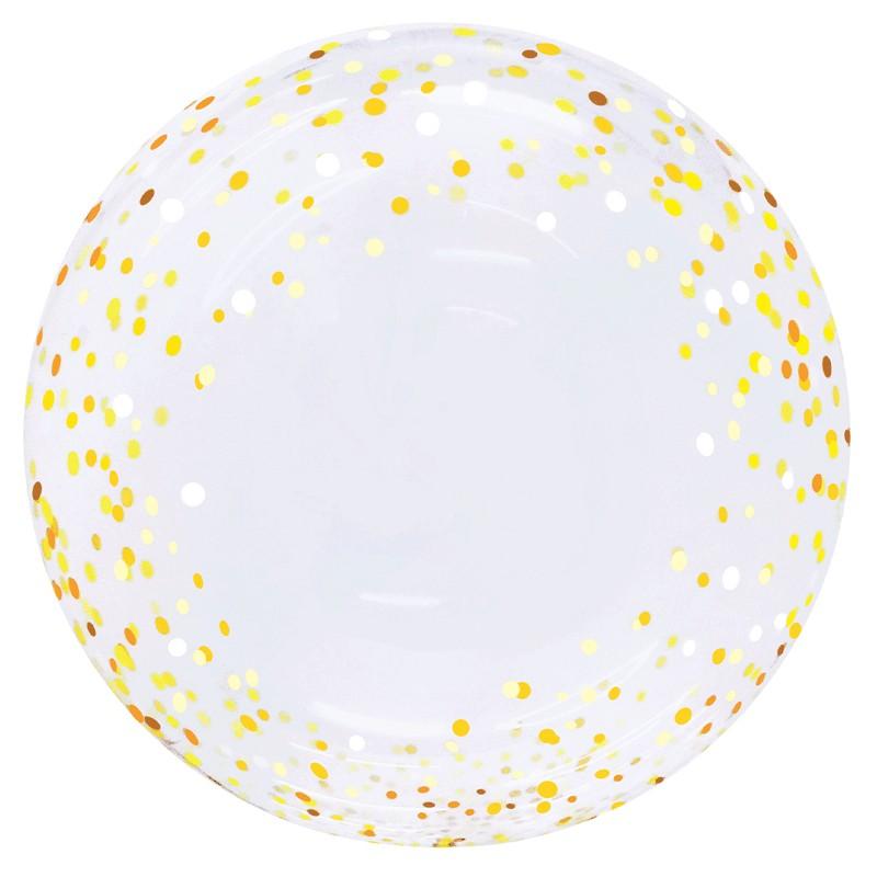 Globo Burbuja Confeti DORADO-PLATA TG