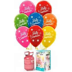 Pack globos y helio Feliz cumple destellos
