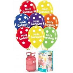 Pack globos y helio Feliz cumple LUNARES