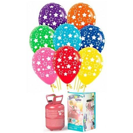 Pack globos y helio con globos Estrellas Bold