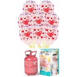 Pack globos y helio CORAZONES 3T