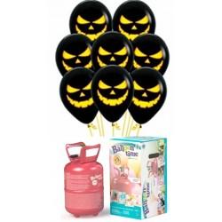 Pack globos y helio calabaza negros