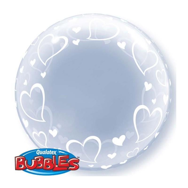 Bubble Burbuja Corazones transparente