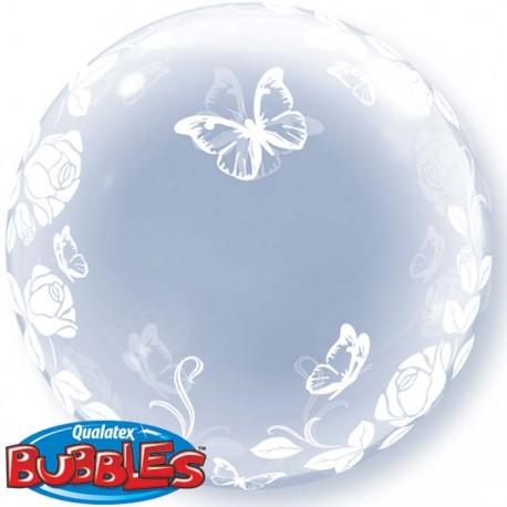 Bubble Burbuja mariposas y rosas