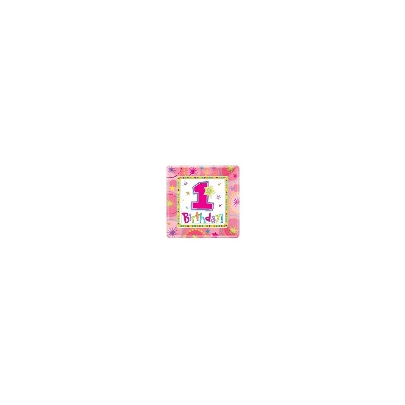 Plato 18cm Mi primer cumple rosa