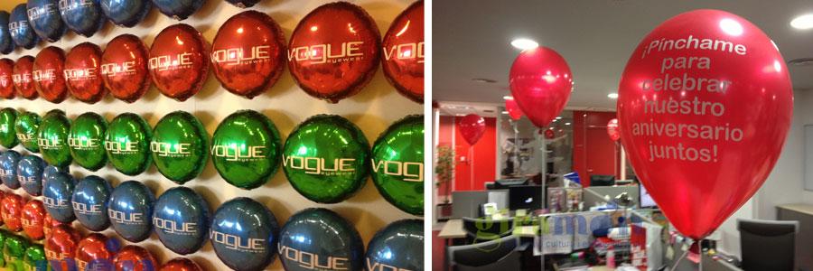 decoración trabajo globos impresos